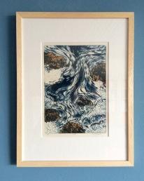 Water, R. Harmsen, 42 x 32 cm: kolkende waterstroom zoekt zijn weg