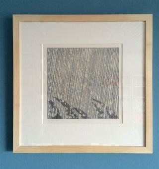 Regen II, A. Pel, 43 x 43 cm: gordijn van sneeuw en regen