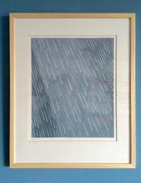 Regenbui IV, A. Pel, 52 x 42 cm: vallende druppels als een kometenregen