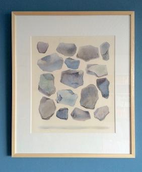 Rechthoek, M. Prins, 62 x 52 cm: gewichtsloos zwevende stenen