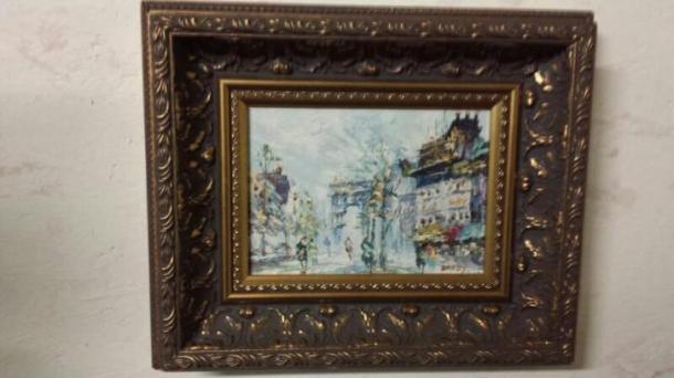 Schilderij 'Winter in Parijs, gesigneerd 'Davey', aangeboden op Marktplaats