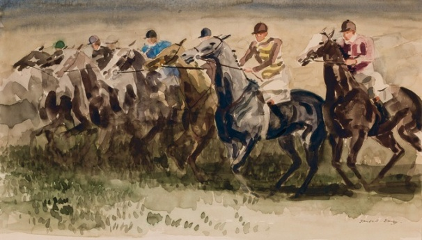 At the Start, Steeple Chase, Randall Davey, waterverf op papier