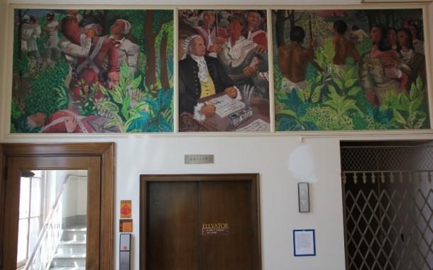 Randall Davey, 'History of the Cherokee Nation', muurschildering in tempera, 1941, postkantoor Vinita (Oklahoma)